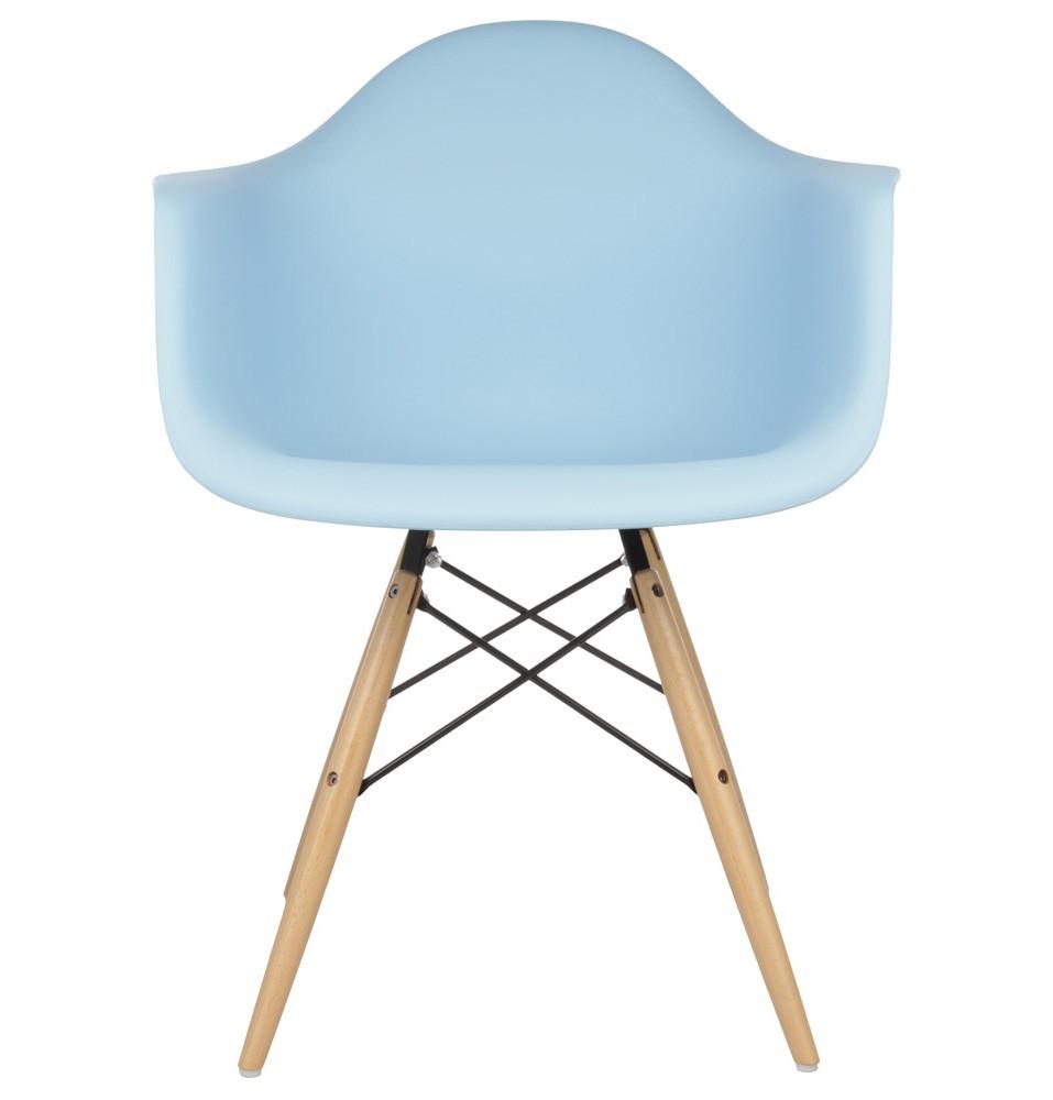 DAW Molded Light Blue Plastic Dining Armchair With Wood Eiffel Legs