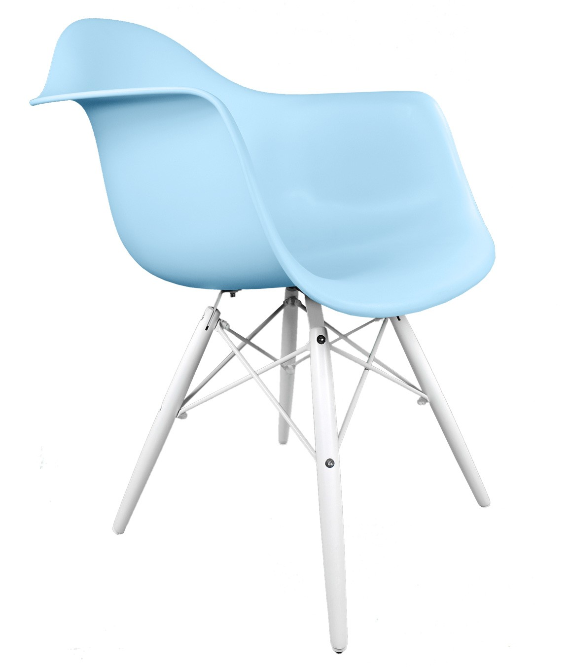 Eames Style DAW Molded Light Blue Plastic Accent Arm Chair with