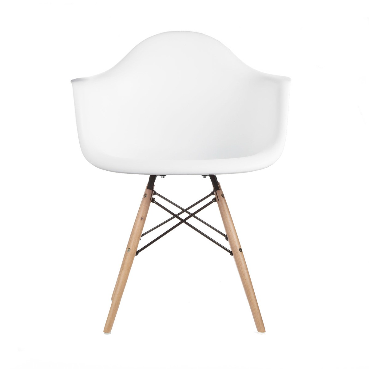 eames style daw molded in white plastic dining armchair with wood