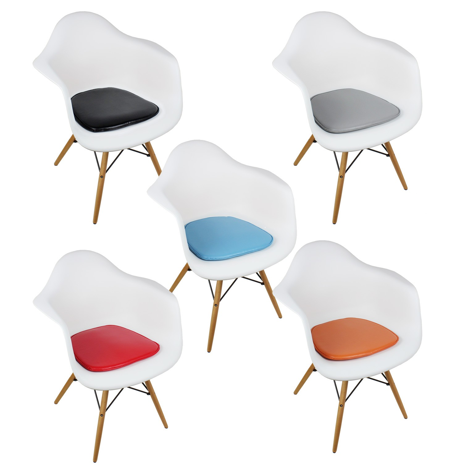 With your purchase  receive at no cost Eames Style DAW Molded White Plastic Dining Armchair with Cushion. Eames Daw Chair Price. Home Design Ideas