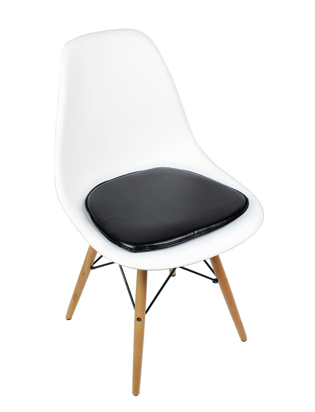 Eames Style DSW Molded White Plastic Dining Shell Chair  : eames dsw white black cushion 1p1 from www.emoderndecor.com size 1068 x 1397 jpeg 84kB