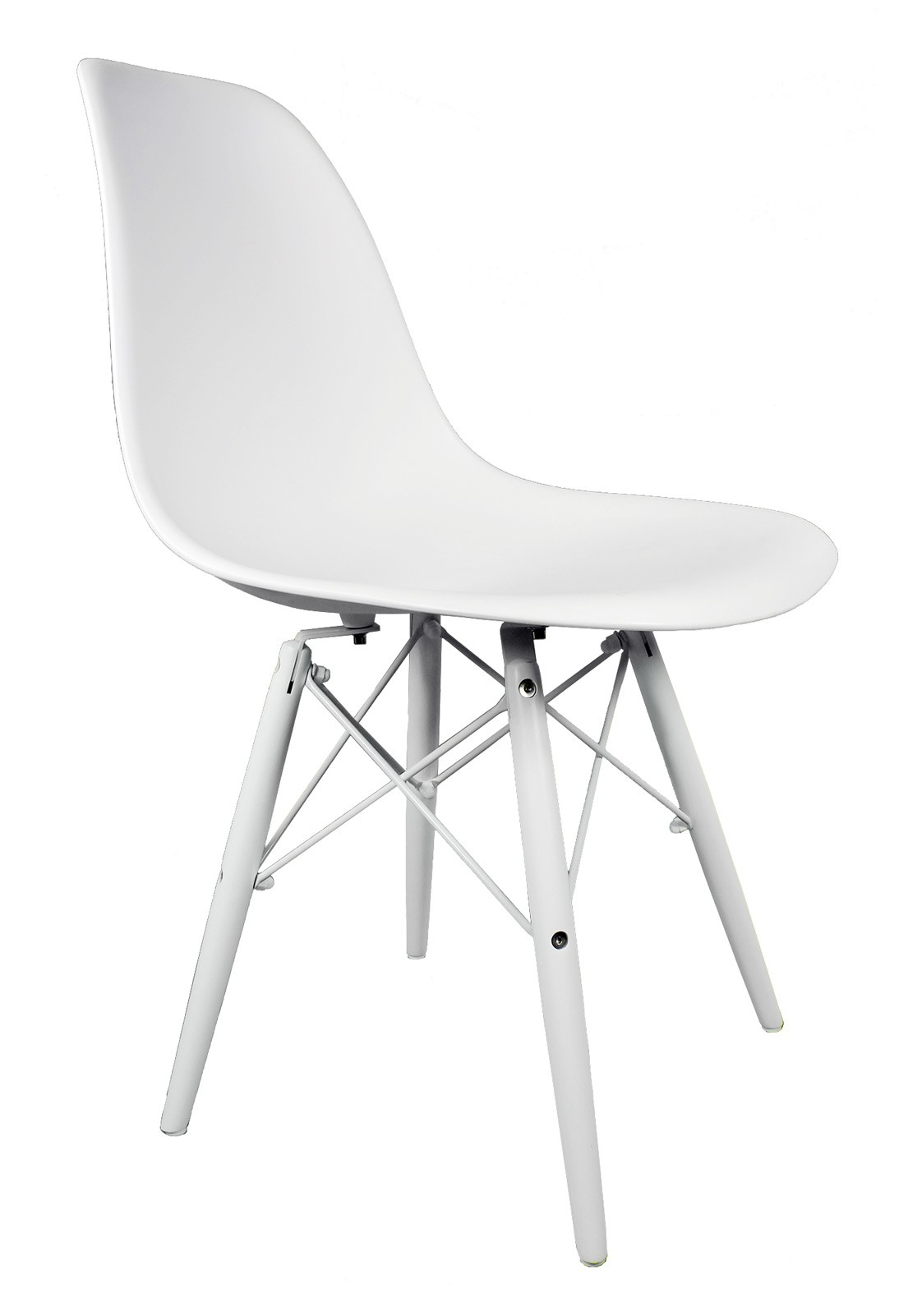 eames style dsw molded white plastic dining shell chair with white