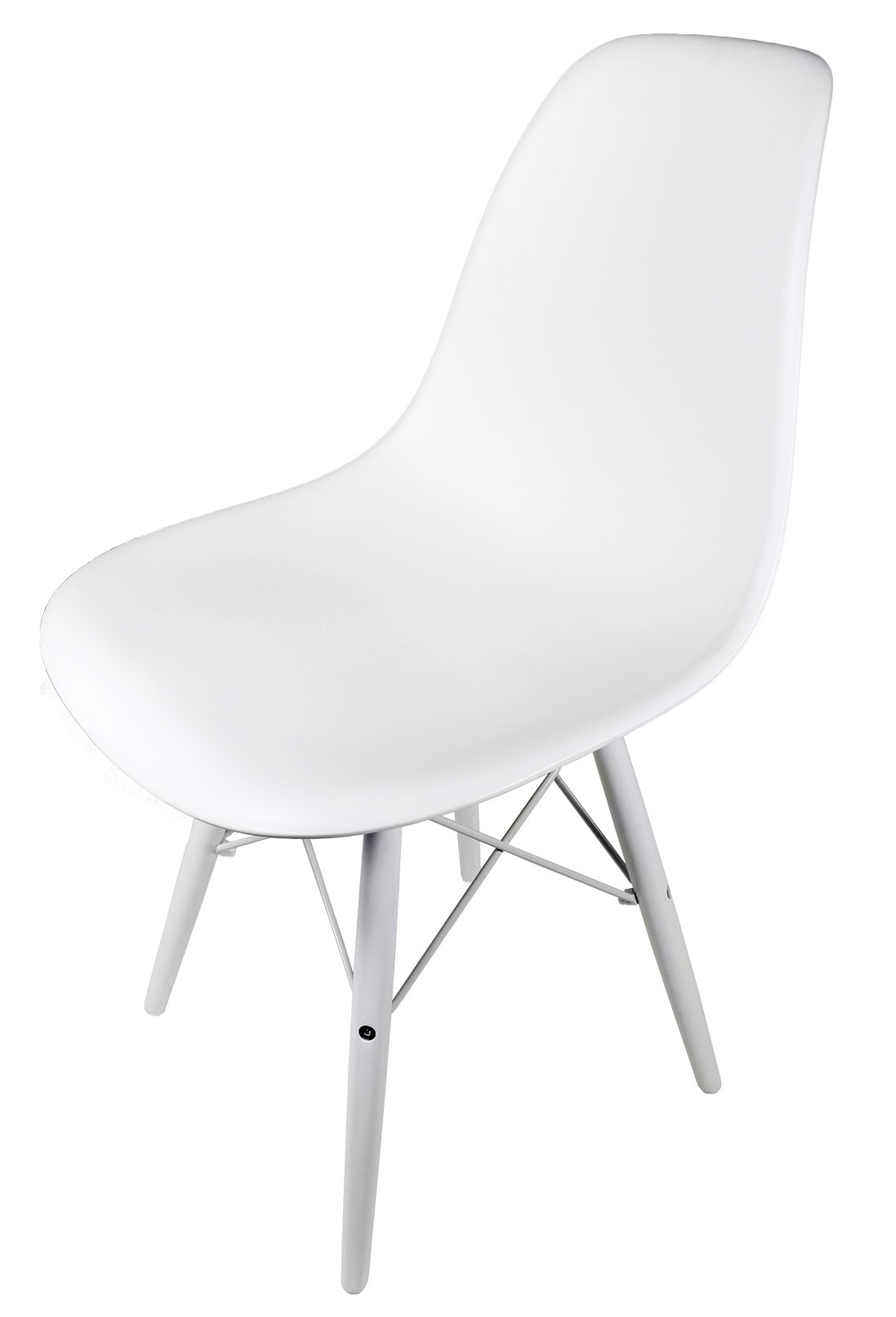 Eames Style DSW Molded White Plastic Dining Shell Chair With White Wood Eiffe