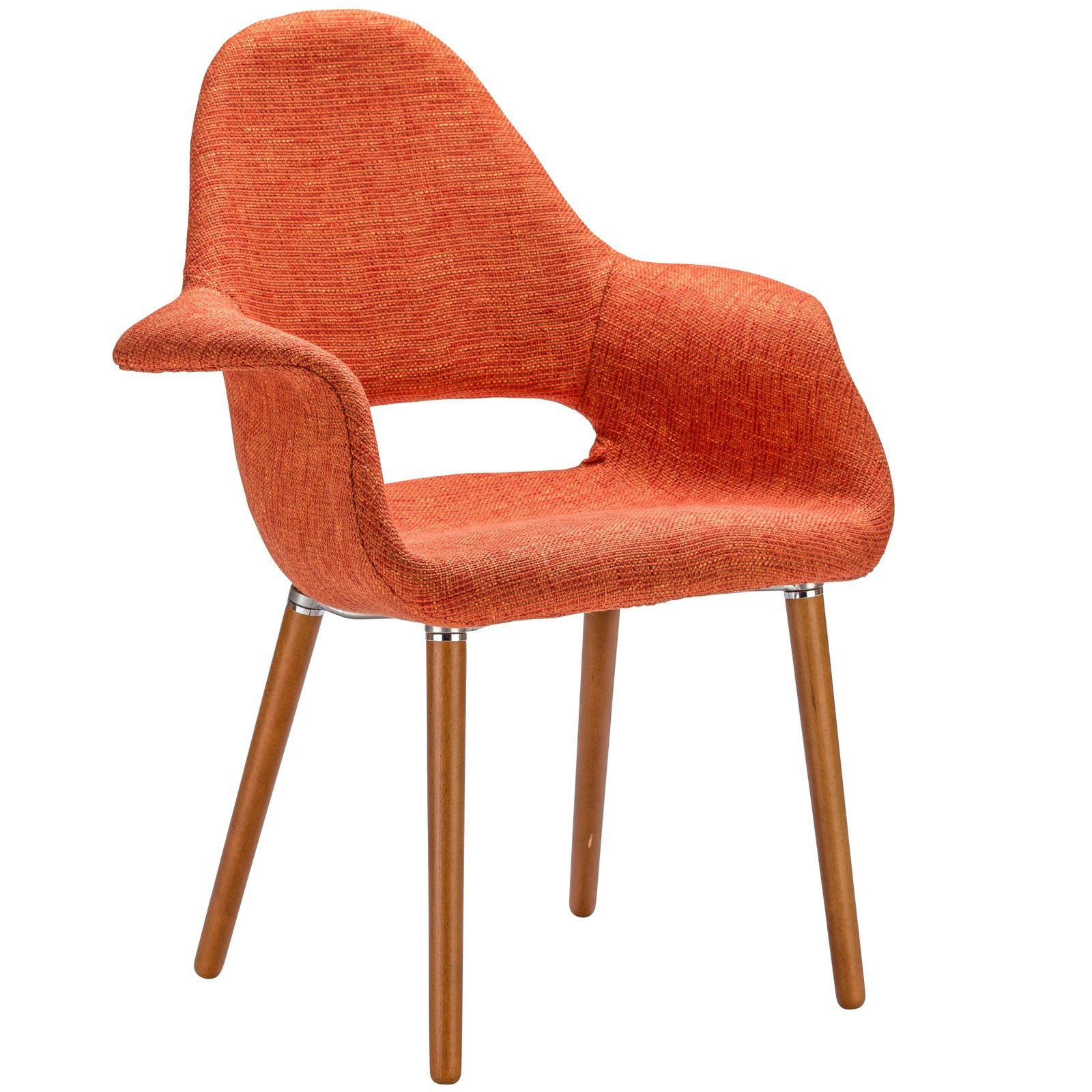 Eames & Saarinen Style Orange Organic Designer Armchair with