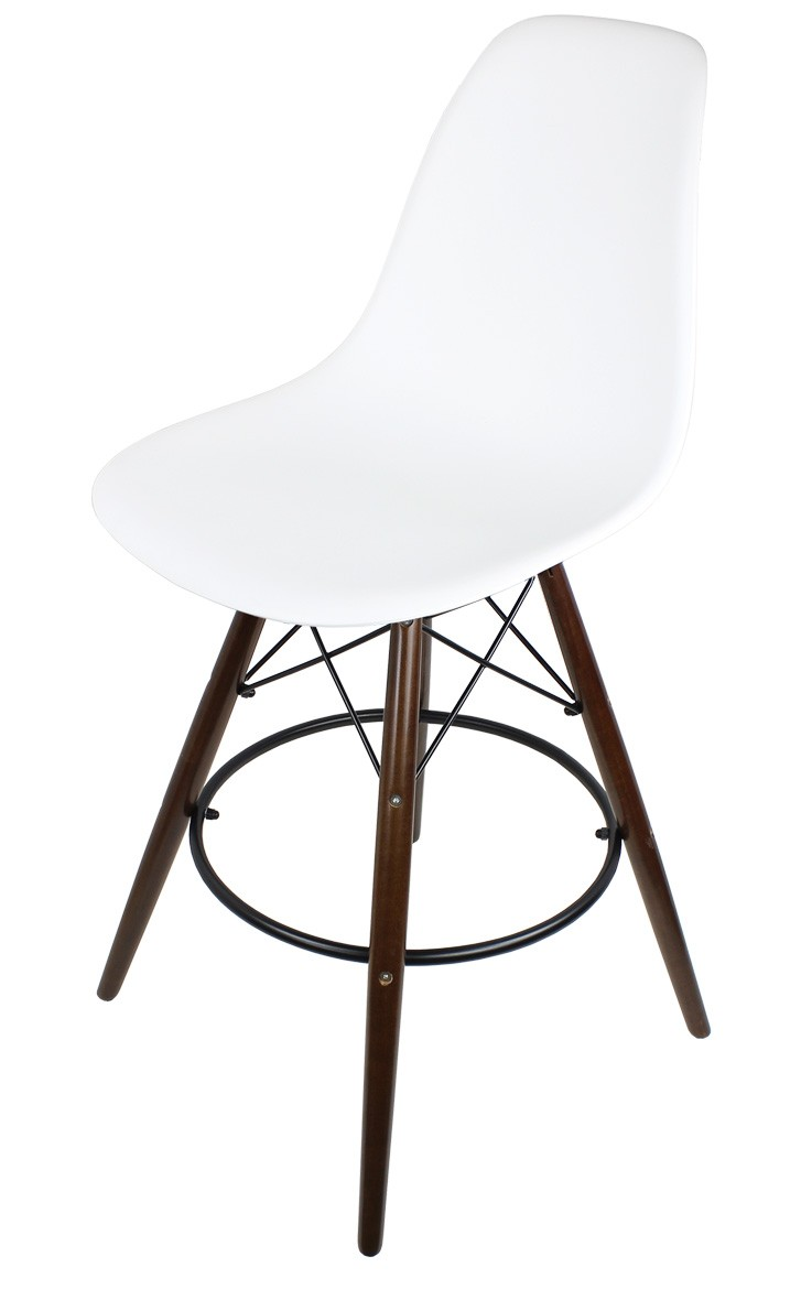 Set of 2 White Eames Style DSW Stool with Dark Walnut Wood  : eames stools white dark legp1 from www.emoderndecor.com size 727 x 1180 jpeg 54kB