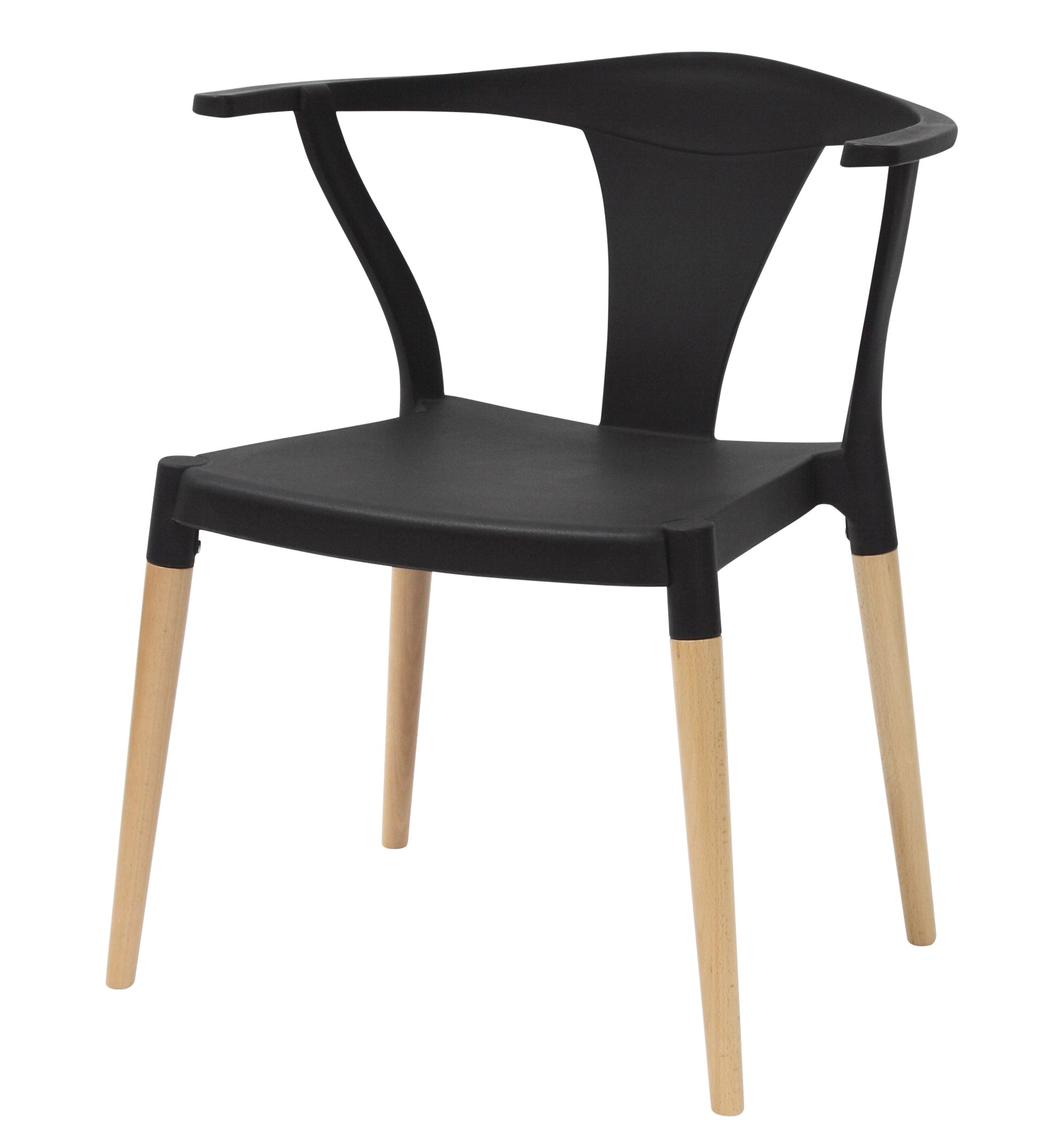 Icon series black modern accent dining arm chair beech for Wood dining arm chairs