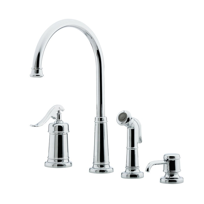 single handle kitchen faucet with sidespray and soap dispenser