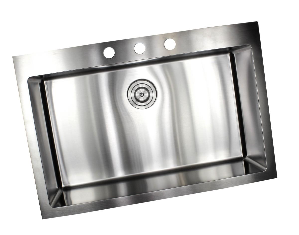 33 inch drop in   top mount stainless steel single bowl kitchen sink   9 gauge deck  u0026 16 gauge bowl 33 inch top mount   drop in stainless steel single bowl kitchen      rh   emoderndecor com