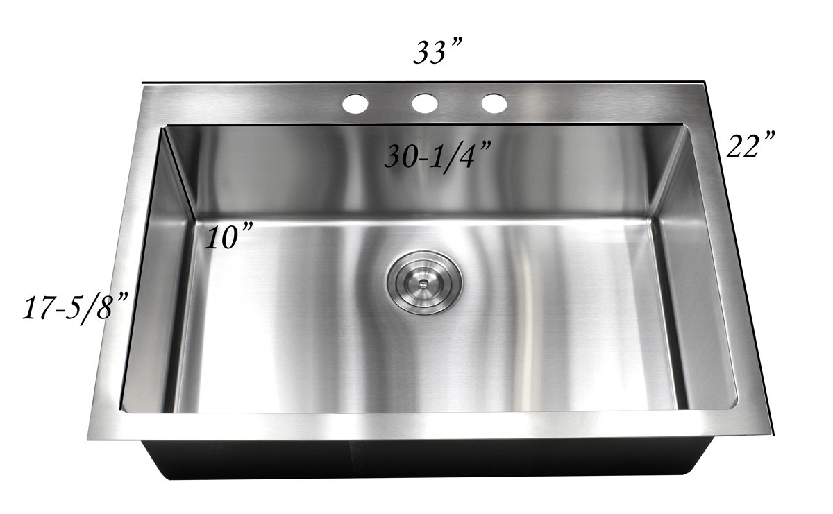 30 Inch Drop In Kitchen Sink 33 inch top-mount / drop-in stainless steel single bowl kitchen