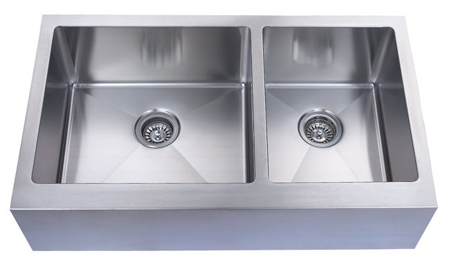 Flat Pack Stainless Steel Sinks : Stainless Steel Flat Front Farm Apron 60/40 Double Bowl Kitchen Sink ...
