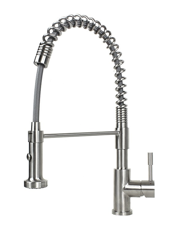 Nice Ariel Coil Spring Solid Stainless Steel Lead Free Single Handle Pull Out  Sprayer Kitchen Faucet