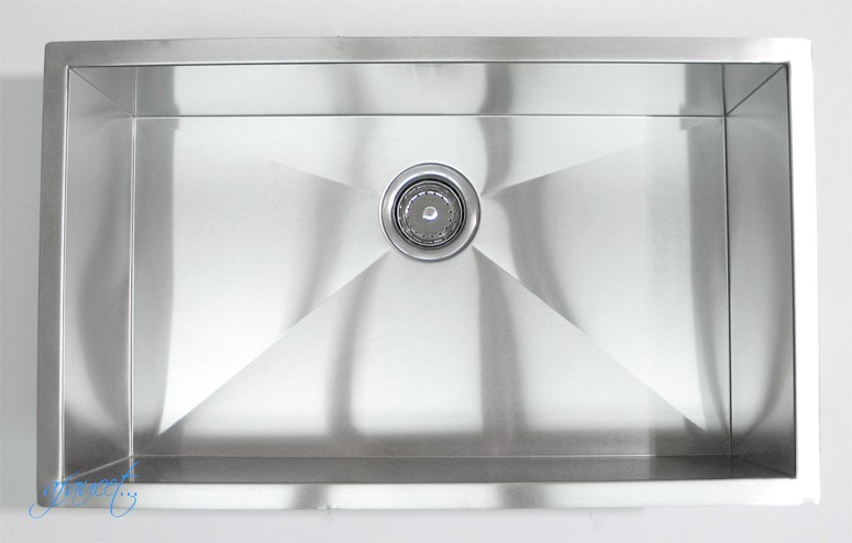 stainless steel radius kitchen sink best cleaner sinks overmount faucet with pull down spray