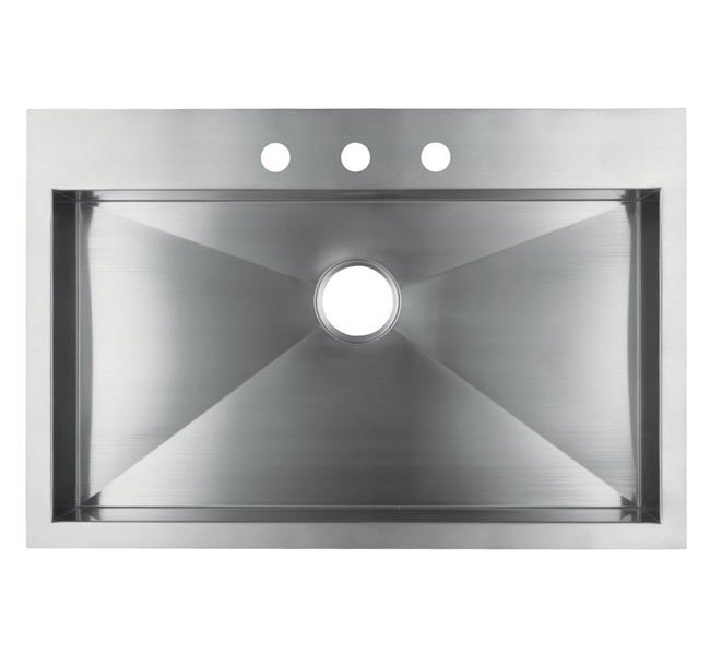 High Quality 36 Inch Top Mount / Drop In Stainless Steel Single Bowl Kitchen Sink Zero  Radius Design