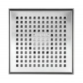 Shower Square Drain 6 Inch – Square Checker Pattern Grate – Brushed 304 Stainless Steel – with Threaded Adaptor  and Adjustable Leveling Feet