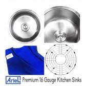 Ariel Pearl 17 Inch Stainless Steel Undermount Single Bowl Kitchen / Bar / Prep Sink - 16 Gauge