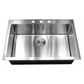 33 Inch Drop-In / Top-Mount Stainless Steel Single Bowl Kitchen Sink Premium Package 15mm Radius Design