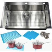 36 Inch Drop-In / Top-Mount Stainless Steel Single Bowl Kitchen Sink Premium Package 15mm Radius Design
