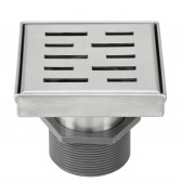 Shower Square Drain 4 Inch – Stripe Pattern Grate – Brushed 304 Stainless Steel – with Threaded Adaptor  and Adjustable Leveling Feet