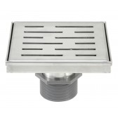 Shower Square Drain 6 Inch – Stripe Pattern Grate – Brushed 304 Stainless Steel – with Threaded Adaptor  and Adjustable Leveling Feet