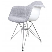 Gray Woven Fabric Upholstered Eames Style Accent Arm Chair