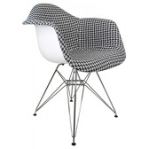 Houndstooth Pattern Woven Fabric Upholstered White Eames Style Accent Arm Chair