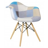 Patchwork Fabric Upholstered Mid-Century Eames Style Accent Arm Chair