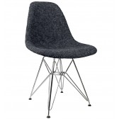 Black Fabric Upholstered Mid-Century Eames Style Accent Side Dining Chair