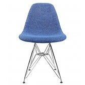 Blue Fabric Upholstered Mid-Century Eames Style Accent Side Dining Chair