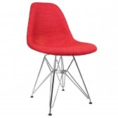 Red Woven Fabric Upholstered Mid-Century Eames Style Accent Side Dining Chair