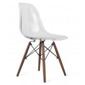 DSW Clear Acrylic Plastic Dining Shell Chair with Dark Walnut Eiffel Legs