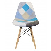 Patchwork Fabric Upholstered Mid-Century Eames Style Accent Side Dining Chair