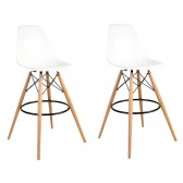Set of 2 30 Inch Eames Style DSW White Plastic Bar Stool with Wood Eiffel Legs