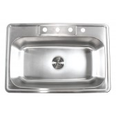 33 Inch Stainless Steel Top Mount Drop In Single Bowl Kitchen Sink - 18 Gauge
