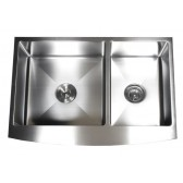 33 Inch Curved Front Farm Apron 60/40 Double Bowl Kitchen Sink with 15mm Radius Design