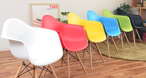 Eames Style DAW Dining Arm Chairs with Beech Wood Legs