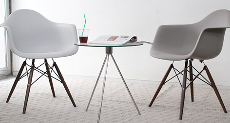 Eames Style DAW Dining Arm Chairs with Dark Walnut Legs