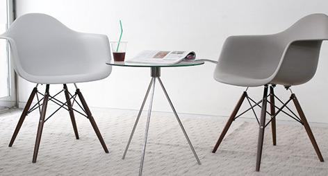 Eames Style DAW Dining Arm Chairs With Dark Walnut Legs