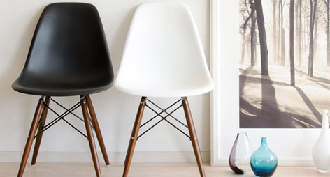 Eames Style DSW Dining Chairs with Dark Walnut Legs