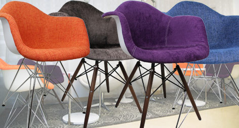 Fabric Upholstered Eames Style Accent Chairs