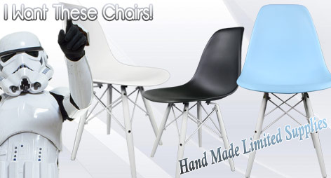 Eames Style Shell Chairs + WHITE Wooden Legs