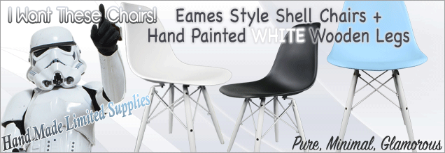 Eames Dining Chairs with White Wooden Legs