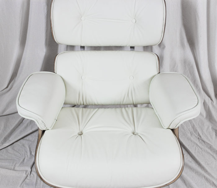 Eames Lounge Chair in White Full Grain Aniline Leather