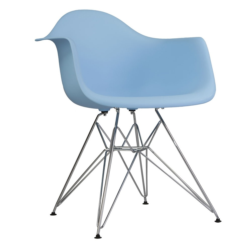 Awesome DAR Molded Light Blue Plastic Dining Armchair With Steel Eiffel Legs