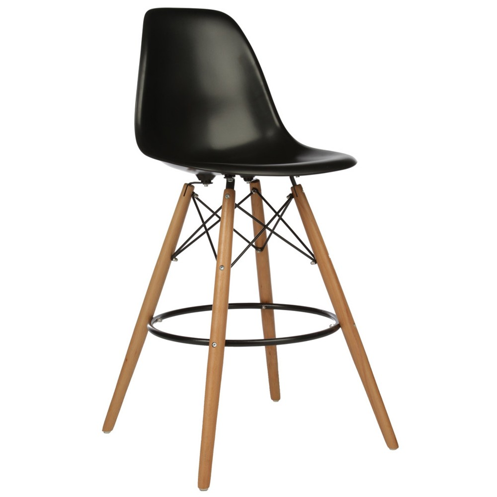Top Set of 2 Eames Style DSW Black Plastic 26 Inch Counter Stool with  MO06