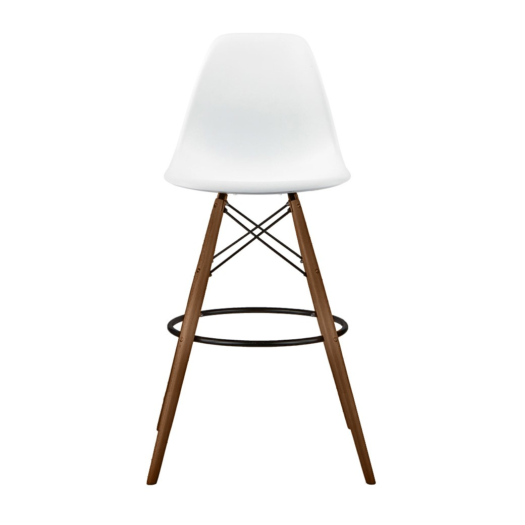Set Of 2 30 Inch Eames Style Dsw White Plastic Bar Stool