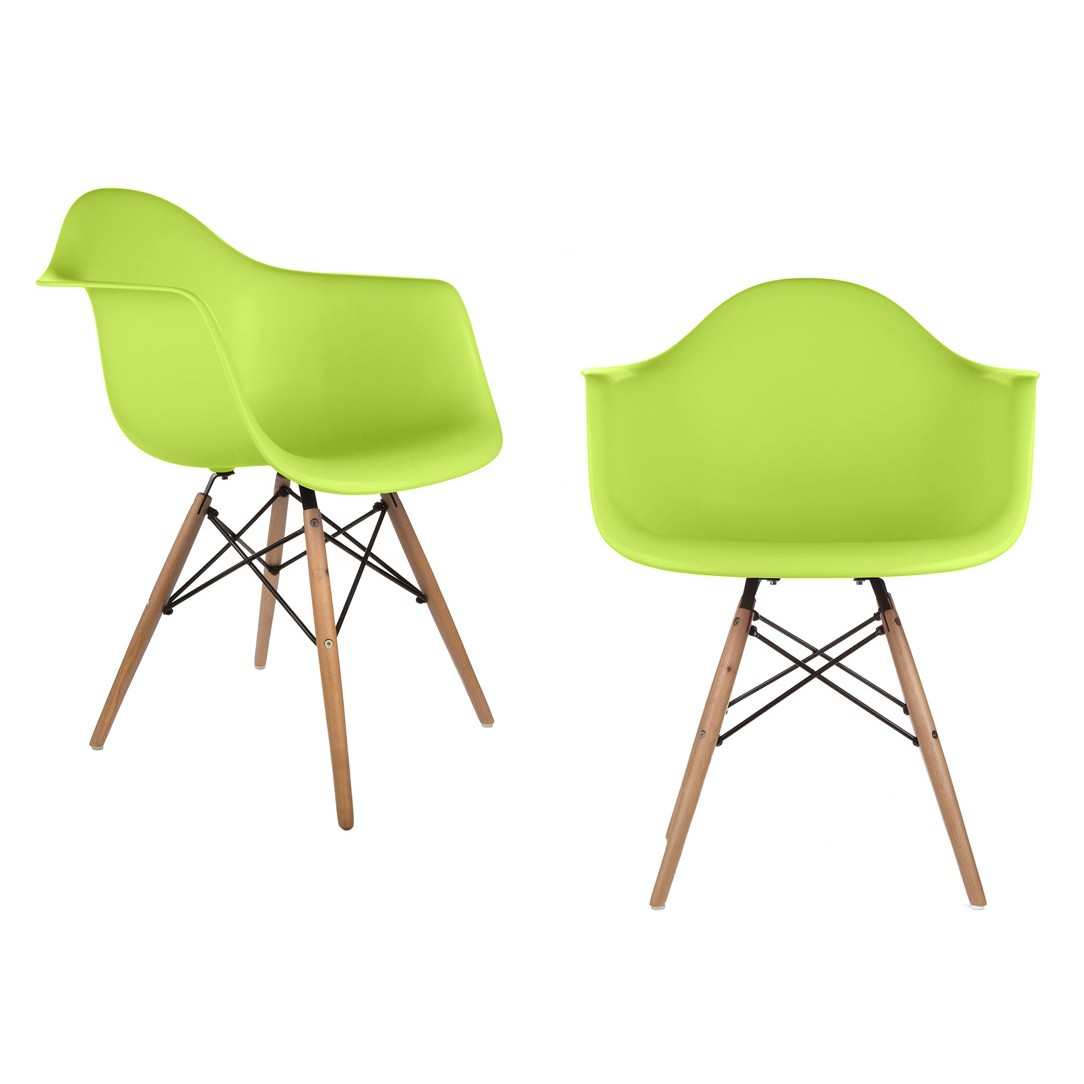 set of 2 eames style daw molded light green plastic dining armchair