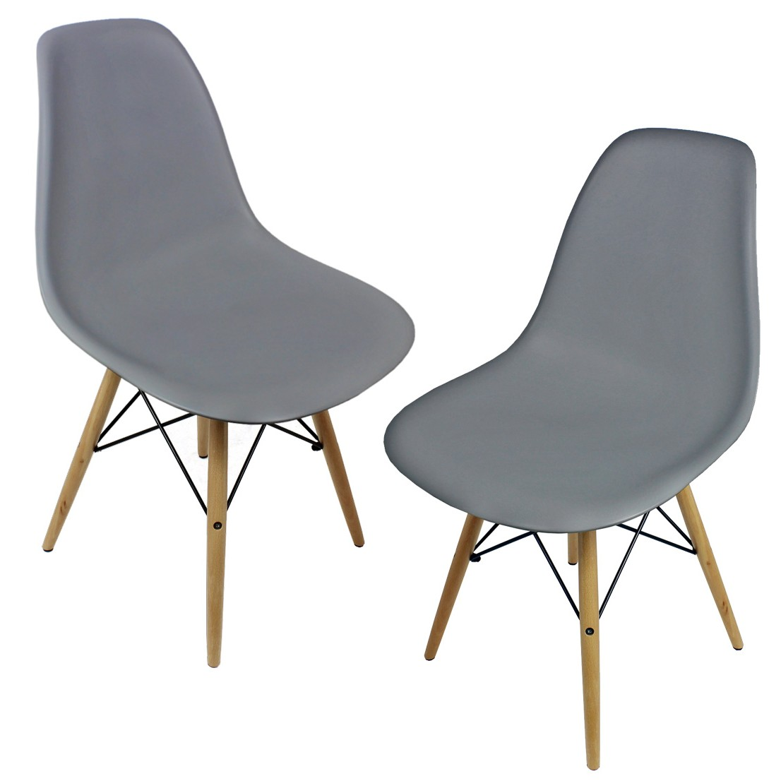 Set Of 2 Eames Style Dsw Gray Plastic Dining Shell Chair