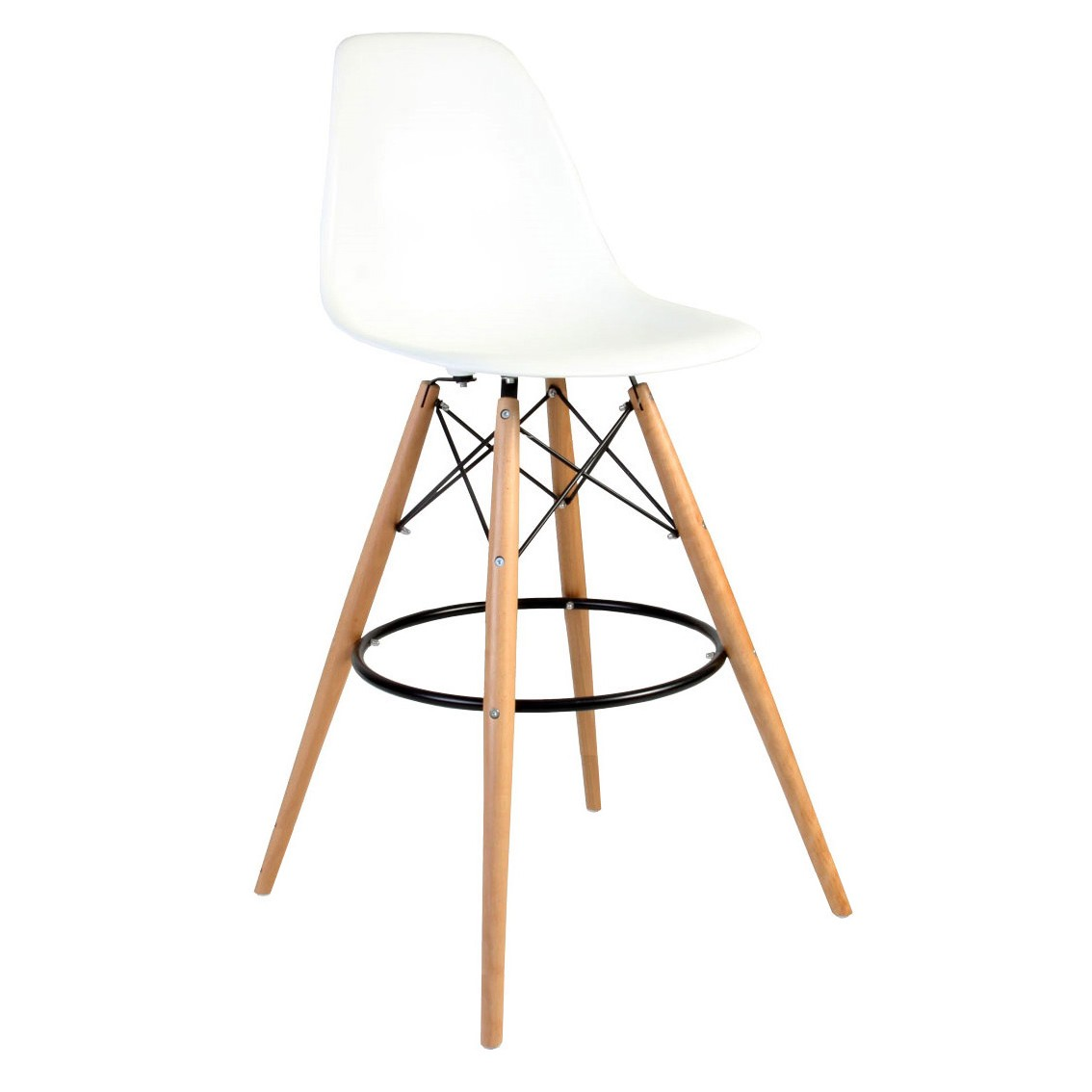 Set Of 2 Eames Style Dsw White Plastic 30 Inch Bar Stool