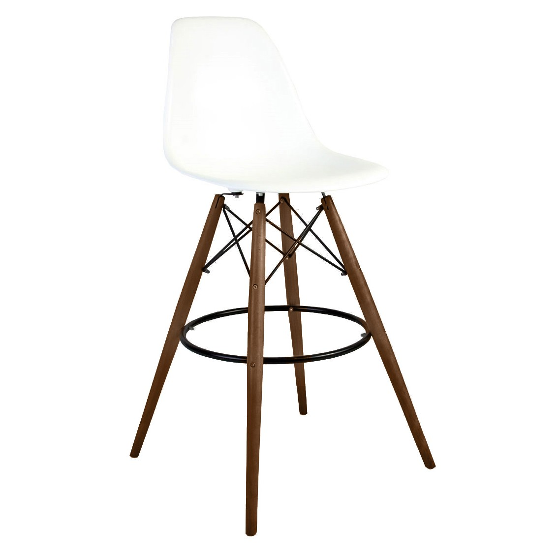 Set Of 2 30 Inch Eames Style Dsw White Plastic Bar Stool With Dark