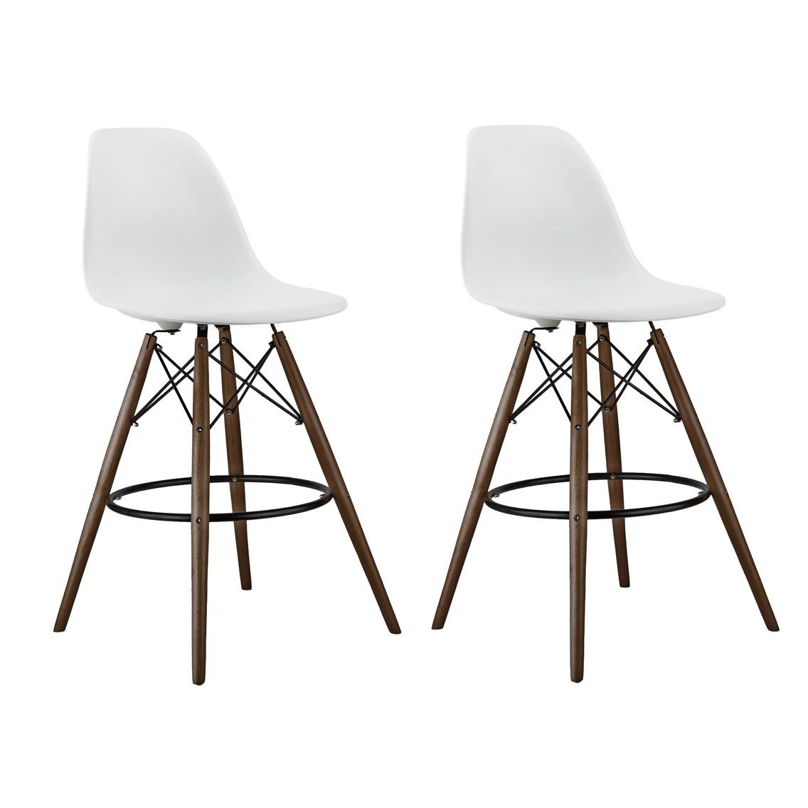 Set Of 2 White Eames Style Dsw Stool With Dark Walnut Wood